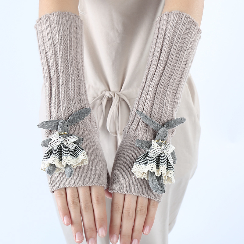 Rabbit Women's Gloves Wrist Arm Warmer Winter Spring Fingerless Knit Mitten