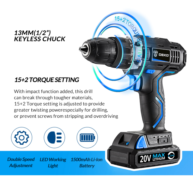 DEKO GCD20DU 20V Max Household DIY Woodworking Lithium-Ion Battery Cordless Drill Driver Power Tools Electric Drill Power Drill 1