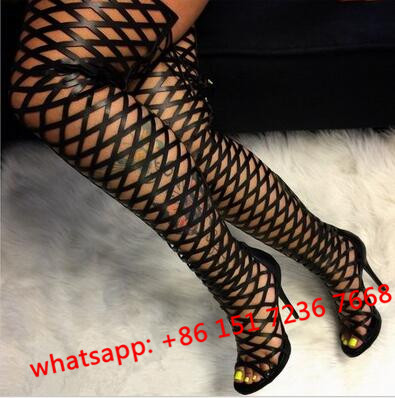 Summer Thigh High Gladiator Sandals Boots Women Sexy Peep Toe Netted Cut-out Over Knee Gladiator Boots High Heel Sandal Boots