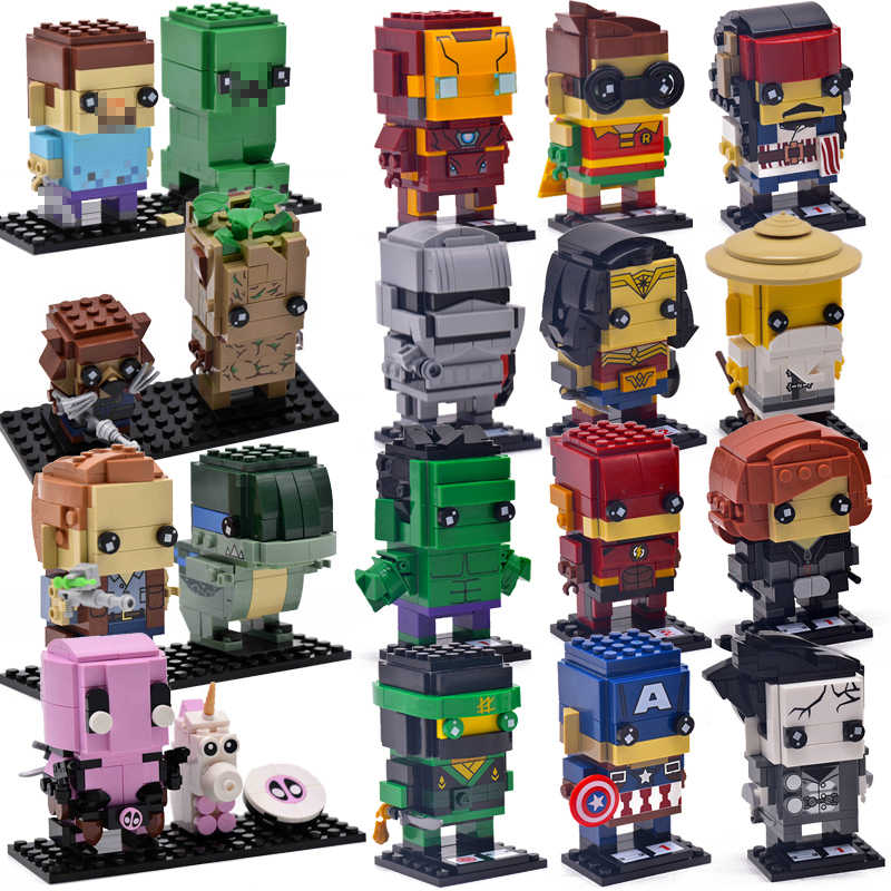 Brickheadz Mini Super Hero Figures DC Avengers 4 Marvel 3 Endgame Brick Heads Iron Man Spider Man Building Blocks Toys