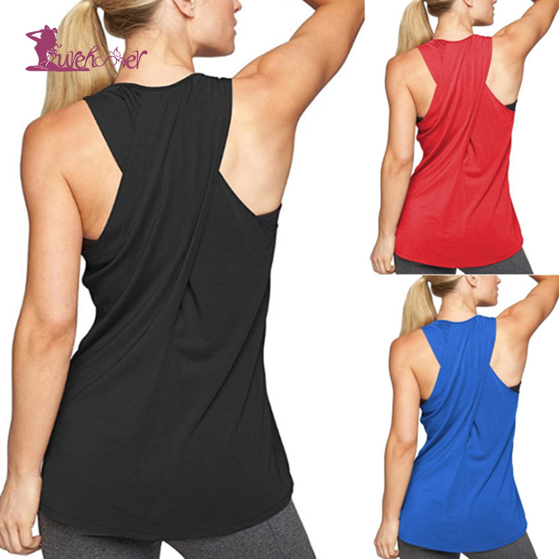 Lurehooker Yoga Top Gym Sports Vest Sleeveless Shirts Women Running Clothes  Women Tank Tops Fitness Clothing Solid Yoga Shirts