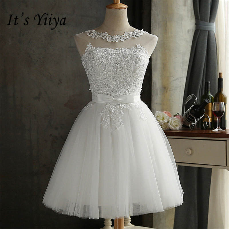 It's YiiYa New White Straplesss A-line Slim Lace Up   Bridesmaid     Dresses   Elegant Lace Slim Sleeveless Short Frocks H105
