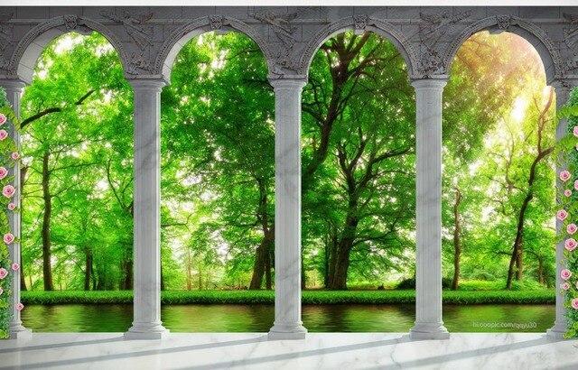 Papel Parede Mural Wallpaper Green Forest 3d Wall Murals Wallpaper 3d Room  Wallpaper Landscape Part 77