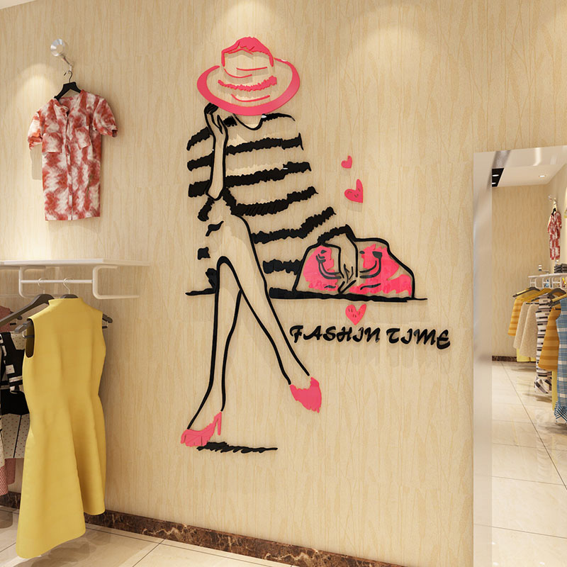 Fashion Girl Wear Hat Design Acrylic Wall Stickers 3D Sticker Clothes Store Nail Beauty Salon Wall Decoration
