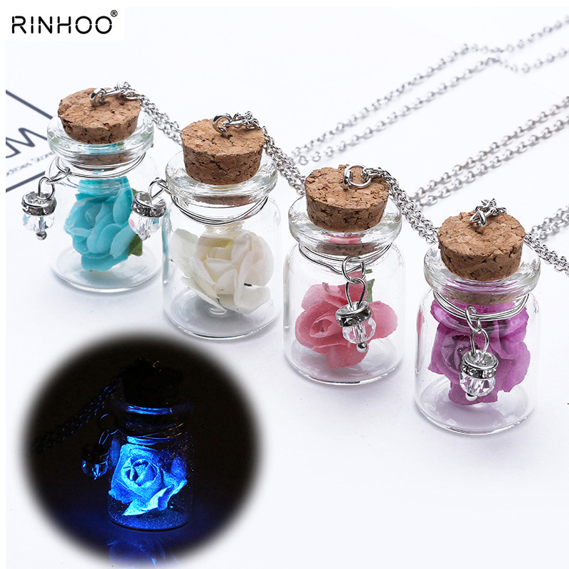 Mini Drifting Bottle Pendant Necklace for Women Luminous In Dark Rose Flower Party Summe ...