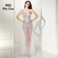 See Though Sexy Mermaid Prom Dresses With Crystals Beaded Vestidos De Fiesta Imported Party Dress Formal