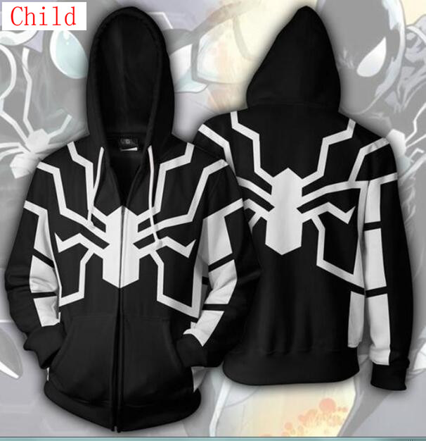venom Child Spider-Man/Attack on Titan Hoodies Sweater Boys Cartoon Cosplay Coat&Jacket Kids Long Sleeve boy and girl Hoodies