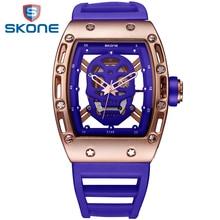 Skone 2017 pirate skull styl mężczyźni zegarki wojskowe wodoodporny silikonowy zegarek mody przypadkowi mężczyzna zegarka kwarcowy relojes hombre