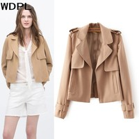 High End 2017 Short Women Jackets With Front Pockets Khaki Black Turn Down Collar Early Autumn