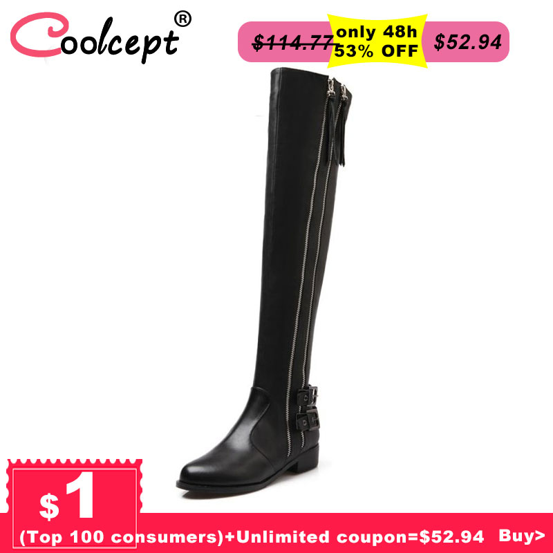 Women Genuine Real Leather Knee Boots Winter Boots Sexy High Heel Round Toe Zipper Fashion Buckle Women Boots Shoes Size 34-39 vintage women genuine real leather knee boots winter boot sexy square heel round toe zipper fashion women boots shoes size 33 40