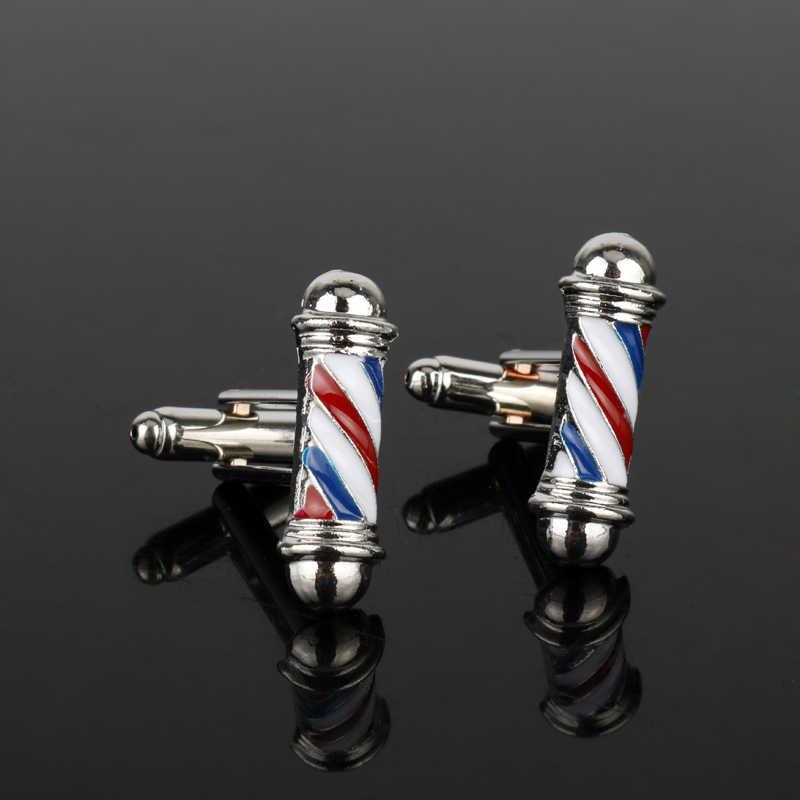 MQCHUN Мода Парикмахерская Полюс запонки 3D мужские запонки для рубашки ювелирные изделия хип хоп Готический зажим для галстука запонки вечерние подарки