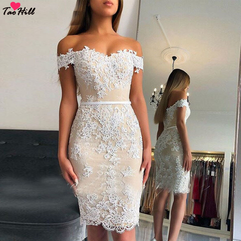 TaoHill Short   Cocktail     Dresses   2019 New Off Shoulder Sweetheart Lace Appliques Women Formal Party Gowns Beige Homecoming   Dress