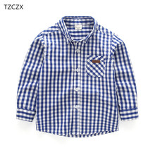 Promotion New Arrival Children shirts Casual Plaid Full sleeved Boys shirts Clothing For 3-10 Year kids wear