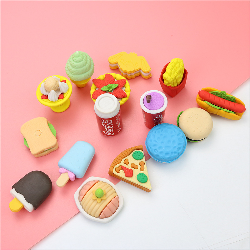 Cute Catering Styling Eraser Children Learning Creative  Prize Rubber Pencil Eraser Kids School Supplies