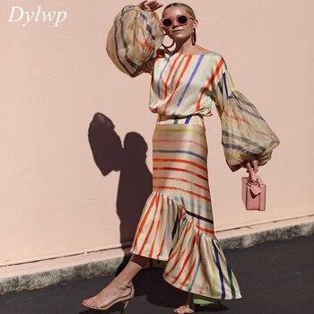 c04d40bec753495 Стильное цветное Полосатое платье в пол женское 2019 летний фонарик рукав  Подиум асимметричное платье Дамское английское длинное вечернее п.