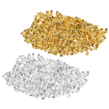 1200pcs Copper Crimp Tube Beads Findings For Ending Beading Cord & Wire Ends Bead Connector DIY Jewelry Making For Accessories
