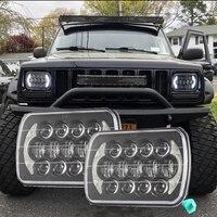 105W 7x6 5x7 LED HID Rectangle Headlights For Jeep Wrangler YJ Cherokee XJ H6054 H5054 H6054LL 69822 6052 6053 Angel Eyes DRL