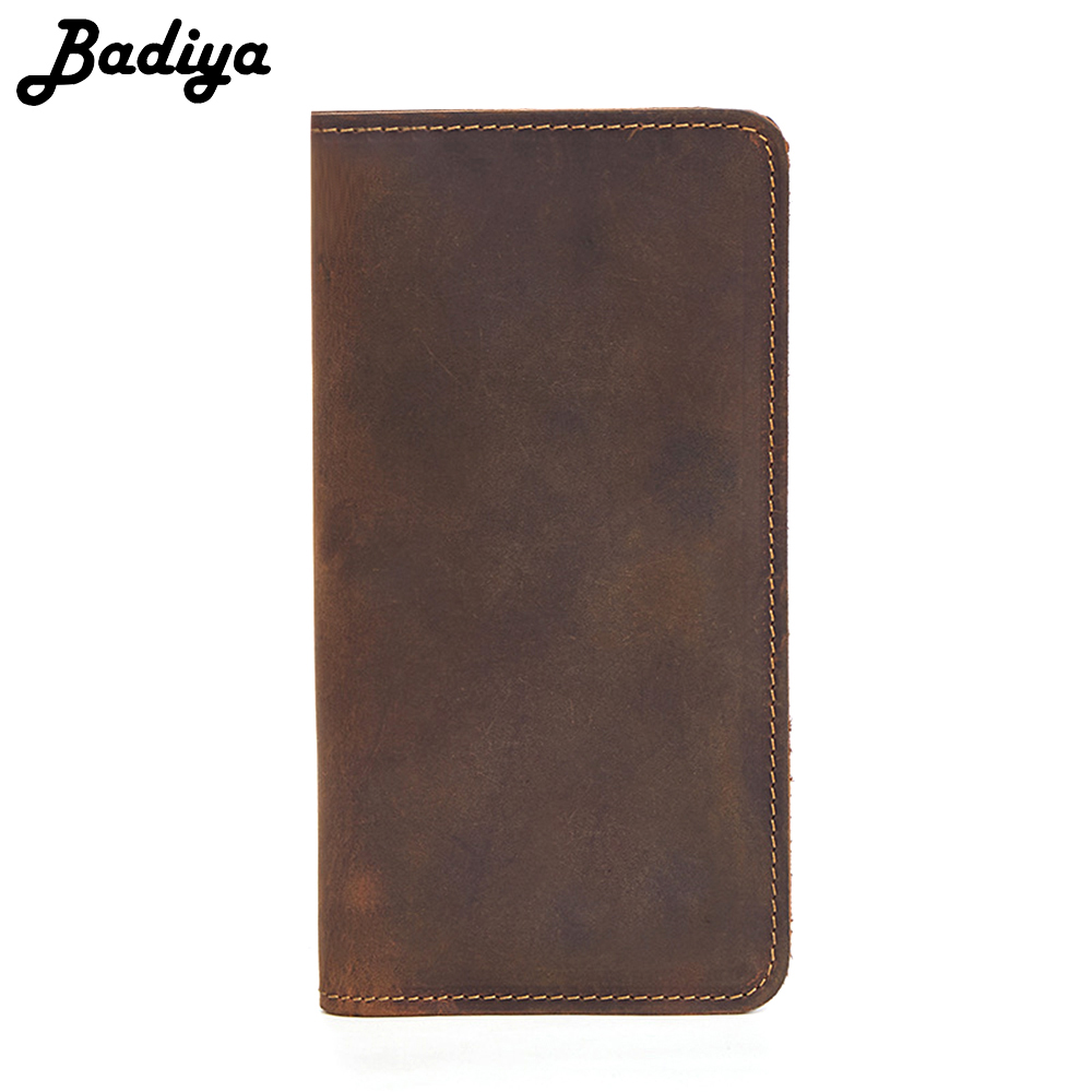 Genuine Leather Men Wallet Crazy Horse Leather Vintage Bifold Retro Long Wallet Credit Card Holders Zipper Purse Business Men crazy horse leather men wallet slim vintage genuine leather long purse cowhide bifold wallets with coin pocket and card holders