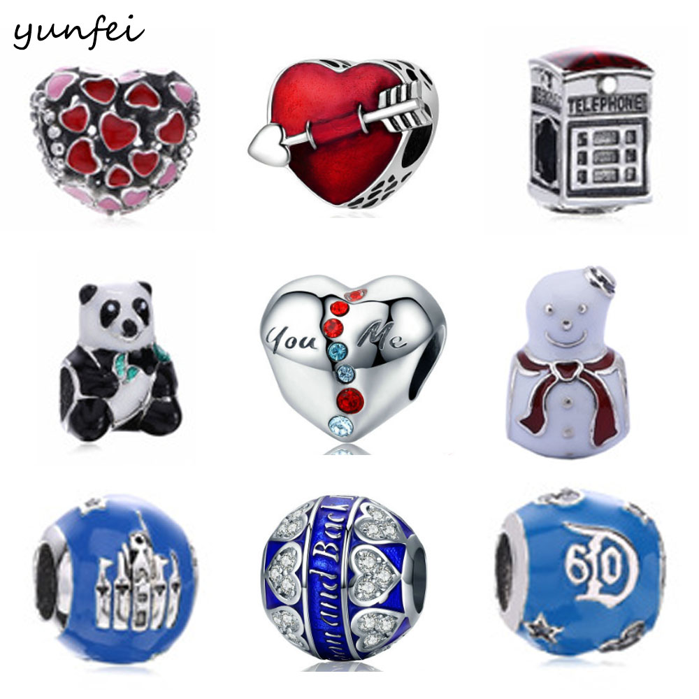 925 Sterling Silver Beads Fit Original Pandora Charms Bracelets Lover Gift Heart Charm With Clear Blue Cubic Zirconia Berloque