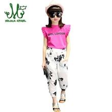 Girls clothes set chiffon floral blouse + print pants spring