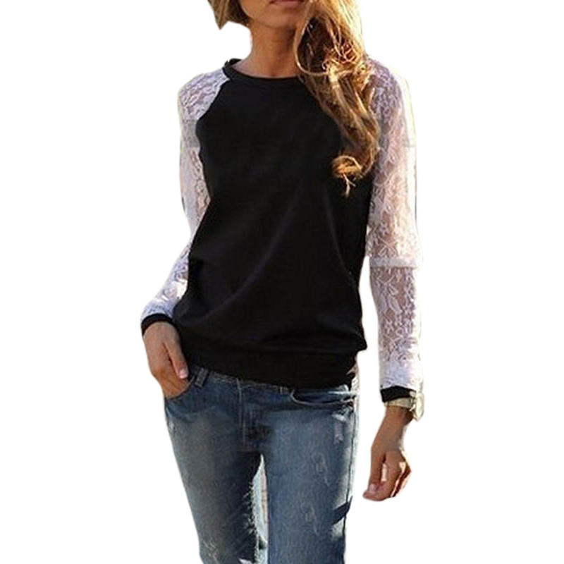 Blusa de renda 2017 Mulheres Da Moda Camisa Senhora Rendas Com Capuz da Camisola Tops Casual 3 Cores blusa de moleton feminino Dropshipping