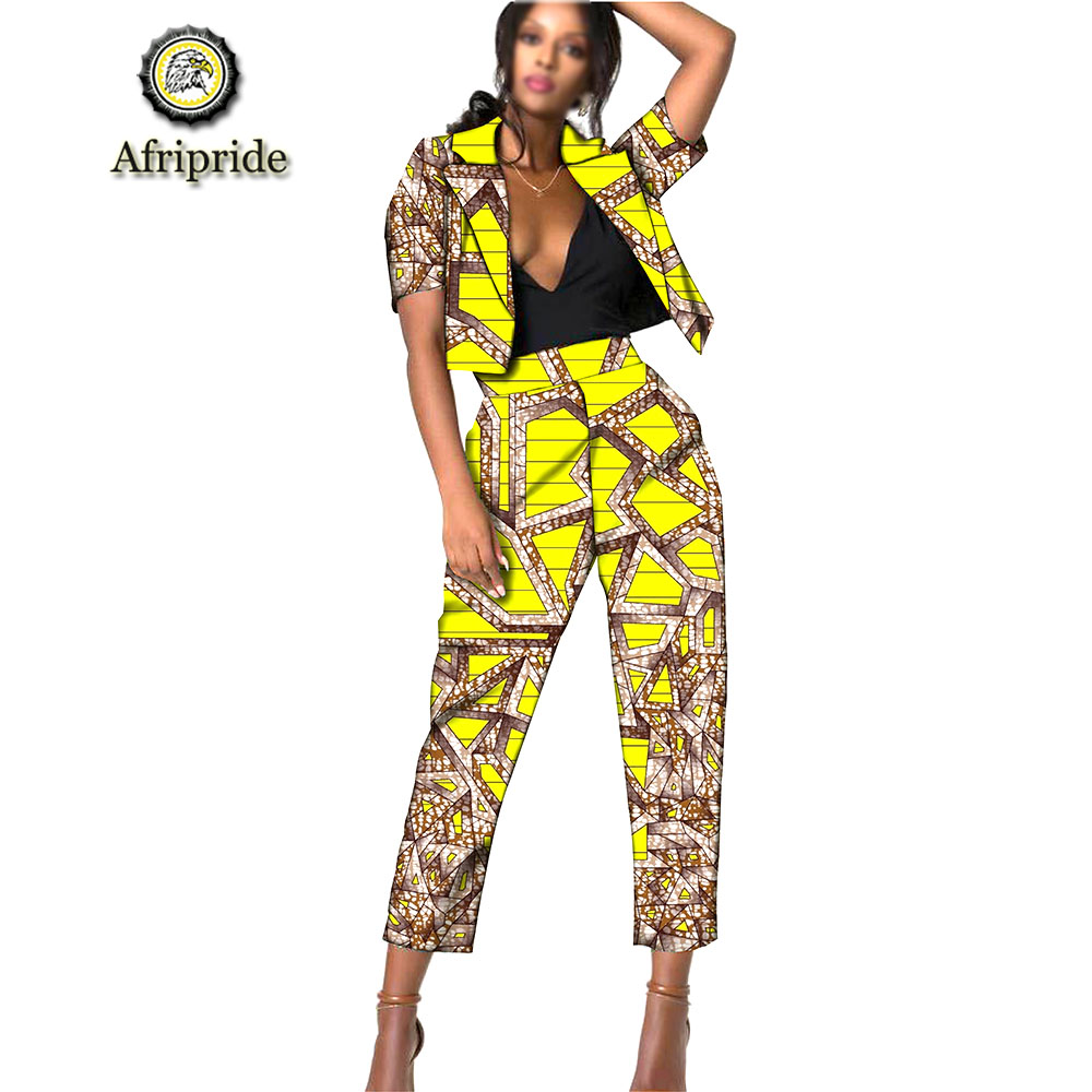 2019 AFRIPRIDE African Clothes For Lady print Dashiki short top and Pants Normcore/Minimali Dress for women S1926009