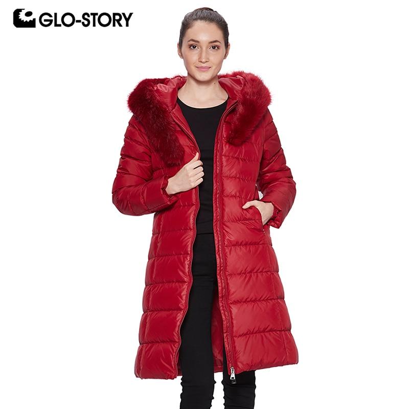GLO-STORY 2018 Women Winter Coat   Parka   with Fur Hooded Pocket Zipper Ladies Coat Winter Jacket for Women WMA-6558