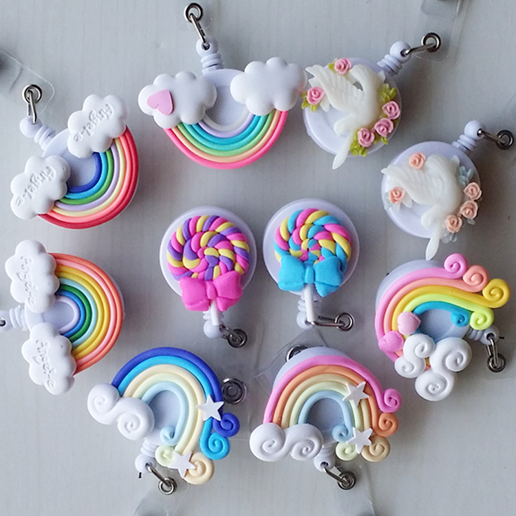 Washi Lollipop Rainbow Retractable Badge Reel ID Card Clip ID Badge Cute Little  Tag Card Holder Reel For School Office Company