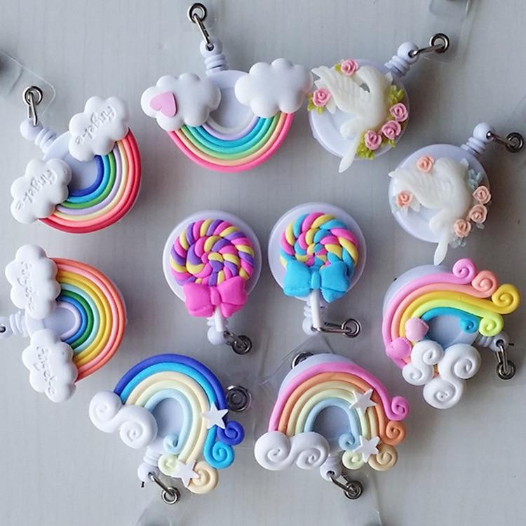 Washi Lollipop Rainbow Retractable Badge Reel ID Card Clip ID Badge Cute Little  Tag Card Holder Reel For School Office Company