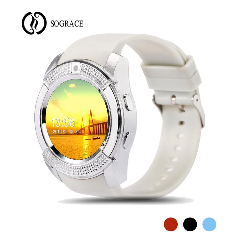 V8 relojes inteligentes Smartwatch llamada telefónica Relogio Bluetooth llamada recordatorio Wearable Smart Watch mujeres hombres Android 2018 reloj del deporte