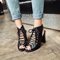 Large size 34-47 fashion summer shoes for women 2017 lace up high heels shoes woman peep toe gladiator heels shoes women pumps