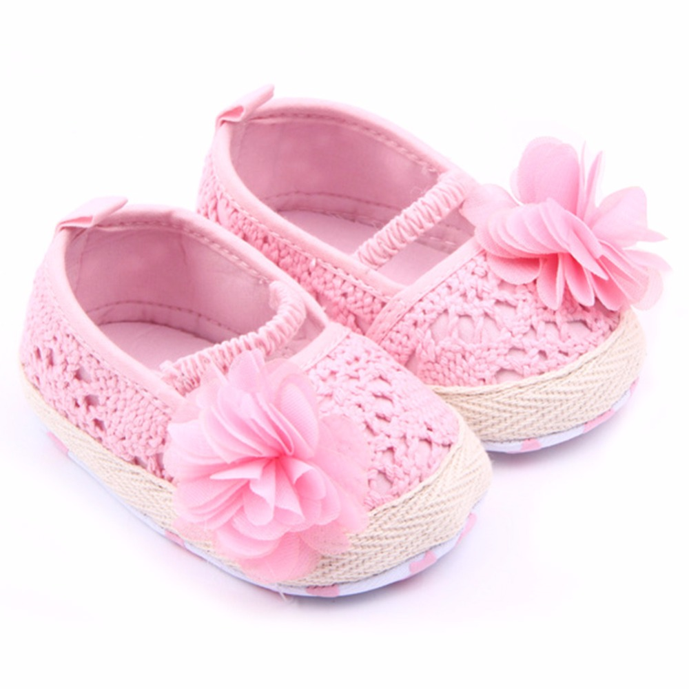 Newborns Baby Girl Shoes Infants Spring Summer Floral Shallow Anti-Slip Prewalkers