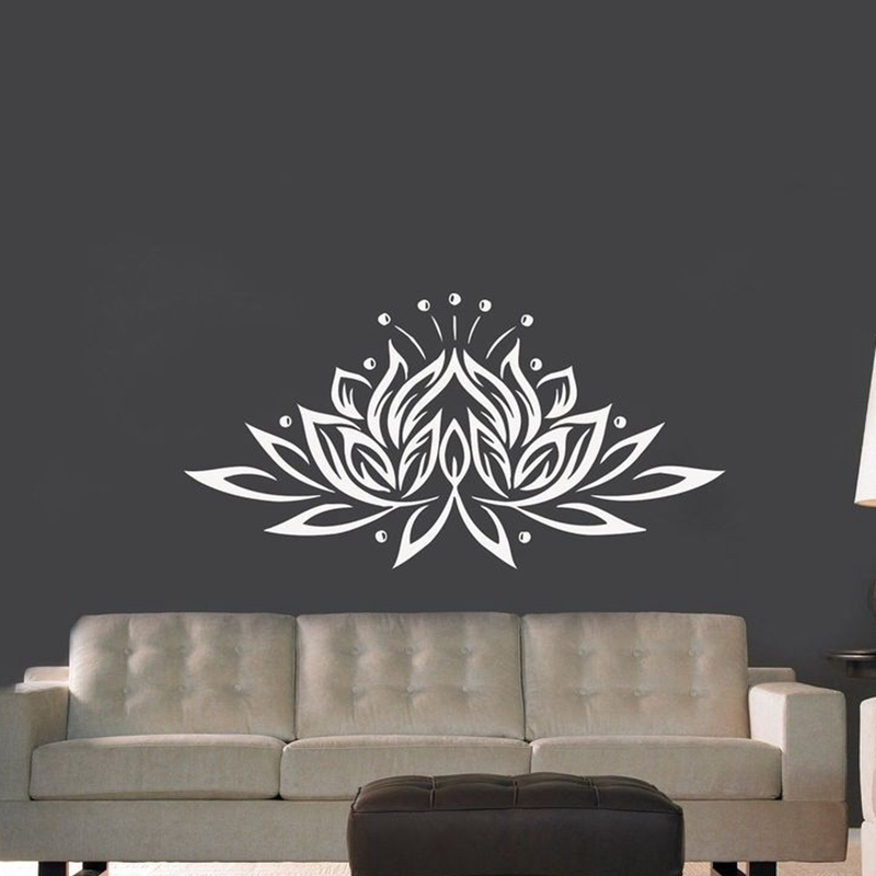 Large Size Lotus Flower Vinyl Wall Sticker Creative Design