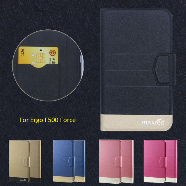 New Top Hot! Ergo F500 Force Case,5 Colors High quality Full Flip Fashion Customize Leather Luxurious Phone Accessories
