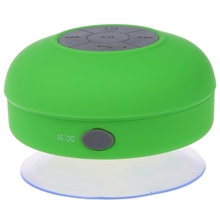 Waterproof Mini Handsfree Speaker jukeboxes Bluetooth USB 2.5 mm Microphone for Mobile with Suction Cup - Green