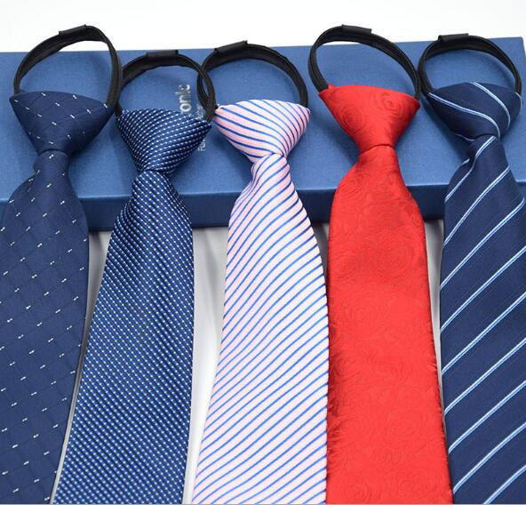 30 Colors Pre-tied Neck Tie Mens Skinny Zipper Ties Black Blue Solid Color Slim Narrow Bridegroom Party Dress Necktie Present
