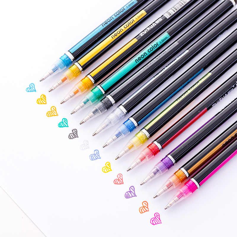 48 สีชุดปากกาเจลวาดภาพวาดสี Glitter Art Marker ปากกาโรงเรียนสำนักงานนักเรียนเขียนเครื่องเขียนของขวัญอุปกรณ์
