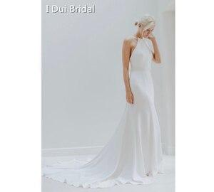 Image 1 - פשוט קרפ שמלות כלה באיכות גבוהה סאטן נדן Keyhole חזור ייחודי כלה שמלה