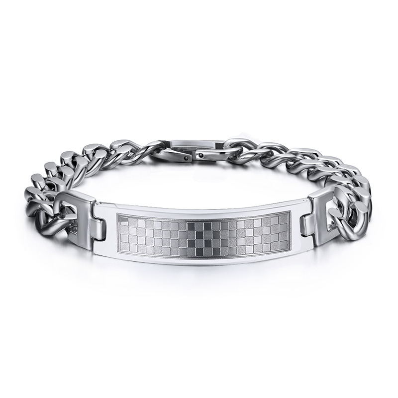 Mens Stainless Steel & Grid Rectangular Tag Link Chain Bracelet Silver Tone Male Jewelry Pulseira Braslet Bracciale 8.5 inch