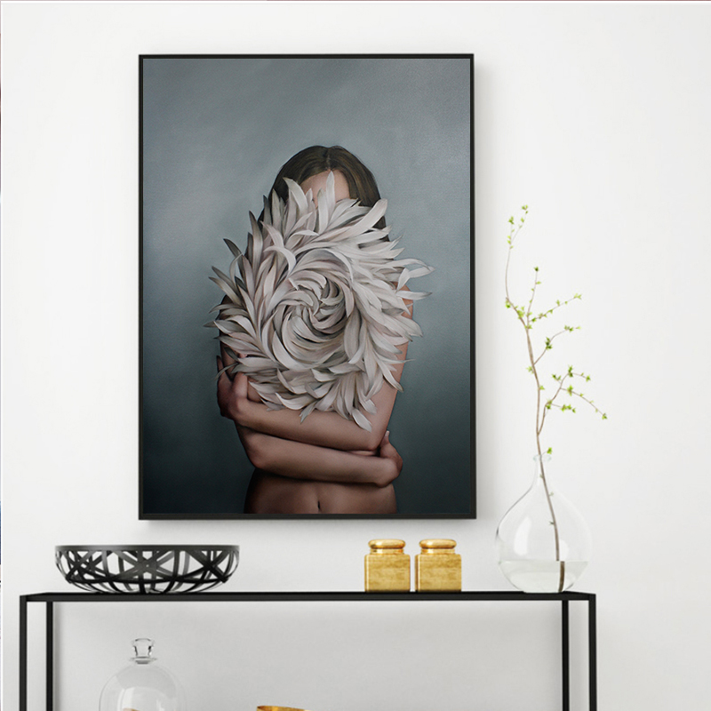 HTB1n0XCKH2pK1RjSZFsq6yNlXXaG Abstract Flower Avatar Girl Canvas Painting Wall Painting Print Poster Wall Art Bedroom Living Room Modern Home Decoration