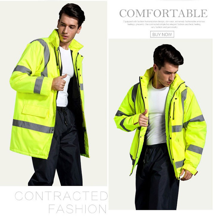 CCGK safety clothing outdoor high visibility reflective jacket waterproof rain coat  warm cotton padded work wear winter outwear (6)