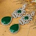 Отличное Качество Горный Хрусталь Серьги Свадебные Аксессуары Ожерелье Зеленый Кристалл Уши Женщины Pendientes Индийские Ювелирные Изделия Brincos