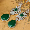 Grande Qualidade Strass Brincos Acessórios de Casamento Finas Orelhas Mulheres Collares de Cristal Verde Brincos Pendientes Jóias Indiano