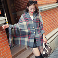 Осень и зима Г-Жа двойной решетки кнопку кашемировые шарфы ультра толстые теплые шали кистями повелительница шарф, шаль