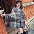 Outono e inverno Ms. duplo botão treliça lenços de cashmere ultra quente espesso xale borlas moda senhora cachecol xale