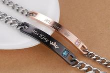 Couple bracelets His Queen and Her King Cheap jewelry Stainless steel Relationship bracelets
