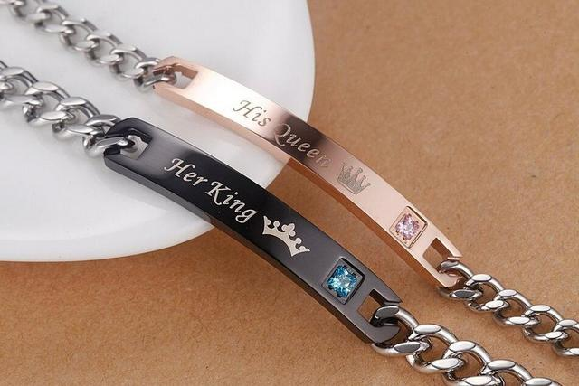 His Queen and Her King stainless steel couple bracelet for lovers  A set of 2pcs bracelet