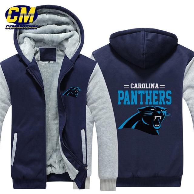 premium selection ebf61 409eb US $37.49 | NFL American football winter thicken plus velvet zipper coat  hooded sweatshirt casual jacket Carolina Panthers -in Hoodies & Sweatshirts  ...