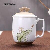 4000ml Japanese Coarse Pottery Handpainted Lotus Mug Tea Cups Coffee Mugs Water Glass Office Teacup Milk