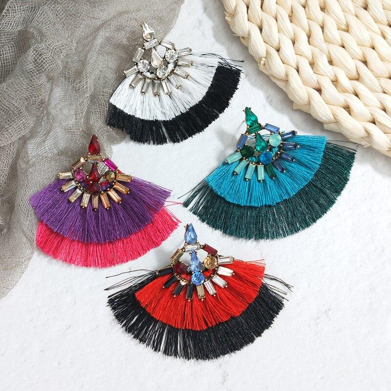 Brinco New Brincos Real Tassel Earrings Fashion Bohemian Statement Drop For Women Big Dangle Fringe 2019 Jewelry Oorbellen in Drop Earrings from Jewelry Accessories